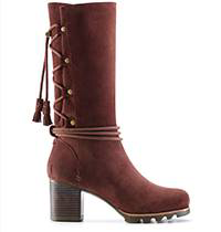 A tall boot with block heel.