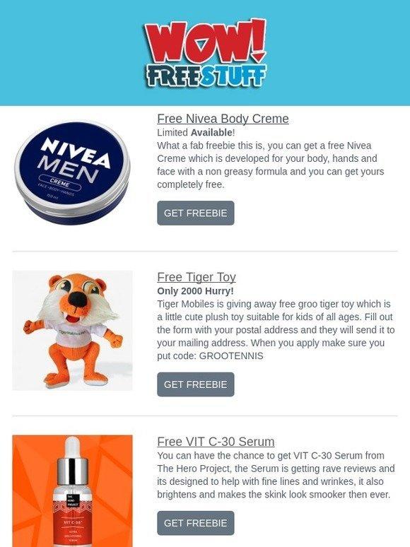WOW FreeStuff: Free Nivea Body Creme,Tiger Toy,VIT C-30 Serum & More | Milled