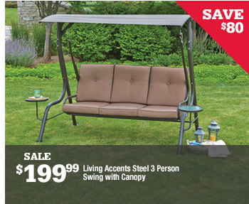 ... SAVE $80 SALE $199.99 Living Accents Steel 3 Person Swing With Canopy