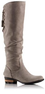 Close-up of a gray Farah Tall boot.