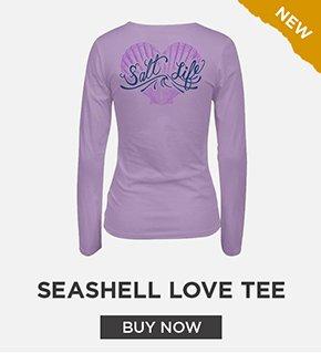 Seashell Love V-Neck Long Sleeve Tee