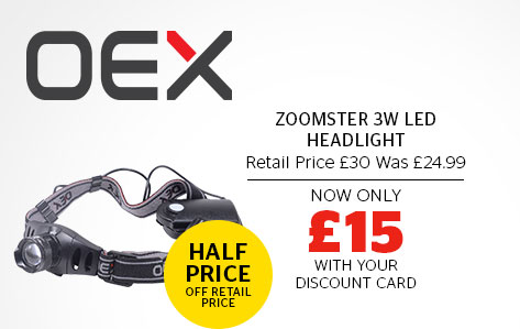 OEX Zoomster 3 W LED Headlight