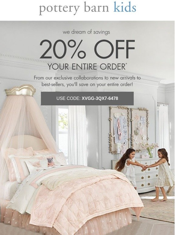 pottery barn kids get your code for 20 off the entire site milled. Black Bedroom Furniture Sets. Home Design Ideas