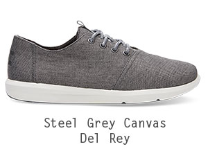 Steel Grey Poly Canvas Men's Del Rey Sneakers