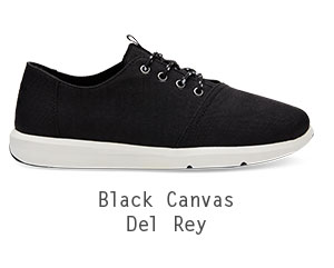Black Poly Canvas Men's Del Rey Sneakers