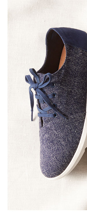 Navy Two Tone Woven Men's Del Rey Sneakers