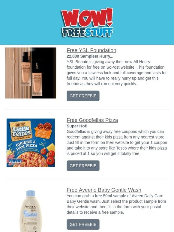 WOW FreeStuff: Free YSL Foundation, Goodfella's Pizza, Gentle Baby Wash & More | Milled