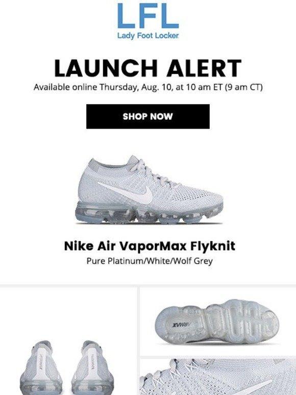 4b16f42a229 Lady Foot Locker  Nike Air VaporMax Flyknit – available 8.10