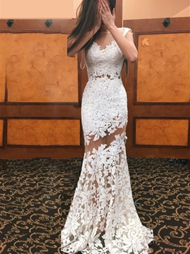 ec95c11b Ericdress Sexy Illusion Neckline Long Sheath Lace Wedding Dress $161.38  Shop Now >