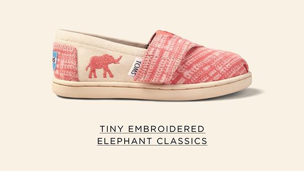The TOMS Animal Initiative Elephant Spiced Coral Tiny Classics