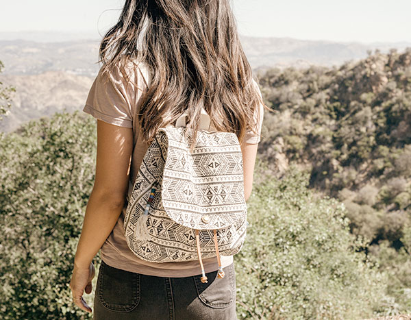 Forest Patterned Canvas Poet Backpack