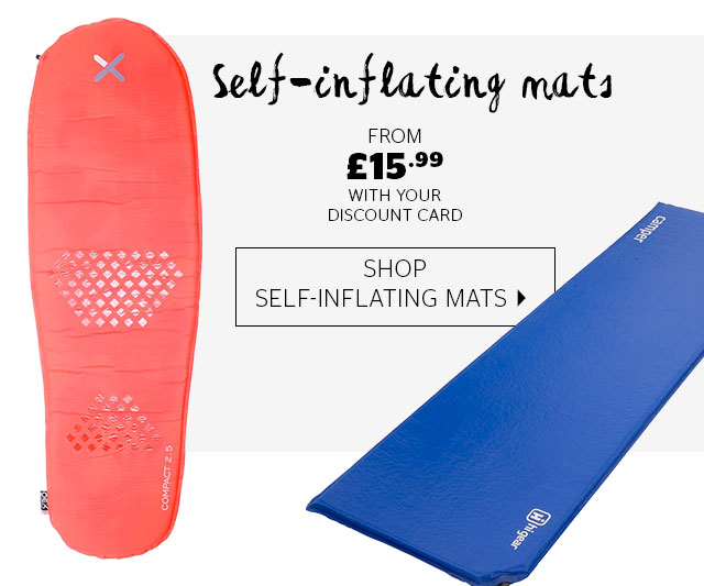 Self-inflating mats from £15.99 with your discount card