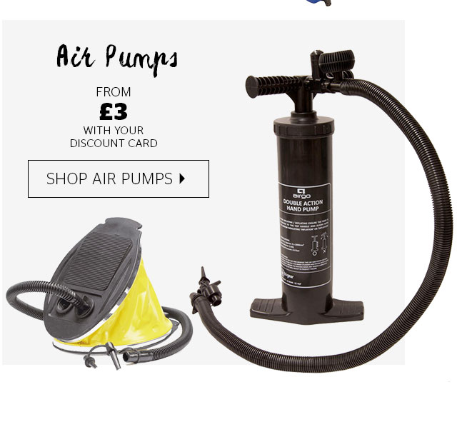 Air Pumps from £3 with your discount card