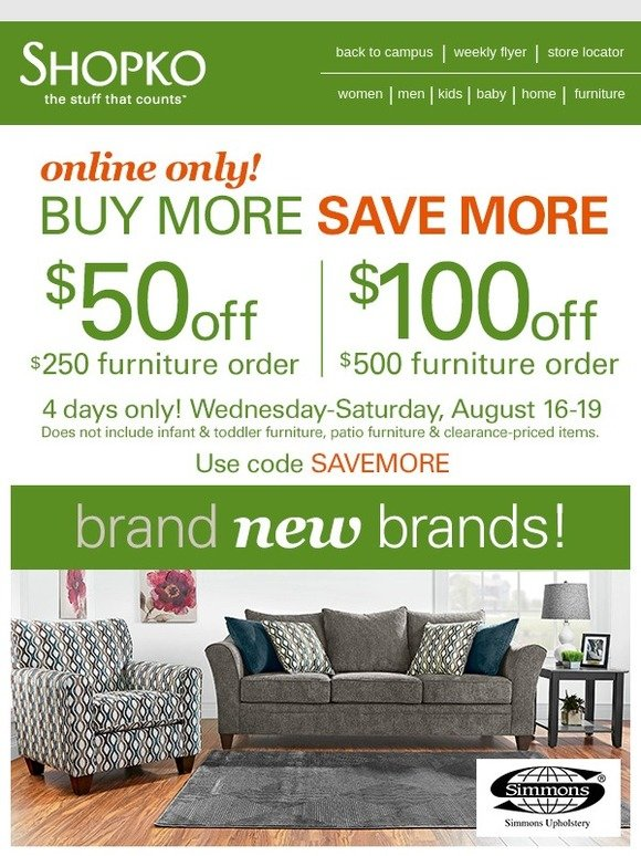 Shopko 100 Off Furniture Right This Way Milled