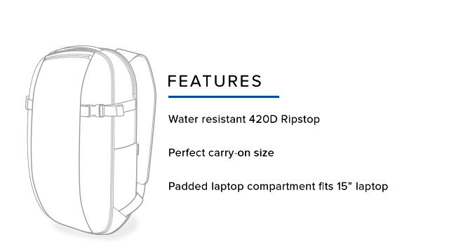 "Features: Water resistant 420D Ripstop – Perfect carry on size – Padded laptop compartment fits 15"" laptops"