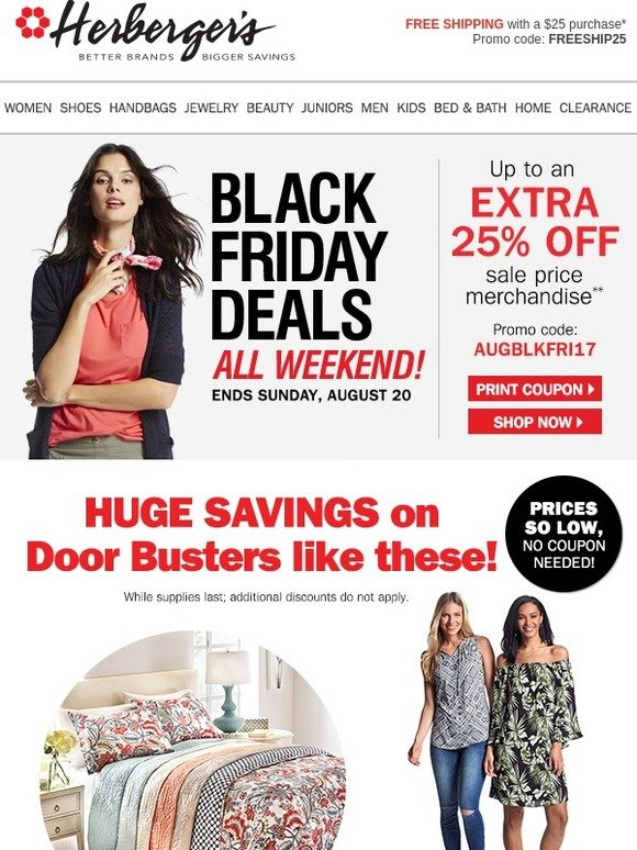 be40814de2 Herbergers  Black Friday Doorbusters Start Now + FREE shipping w  25  purchase