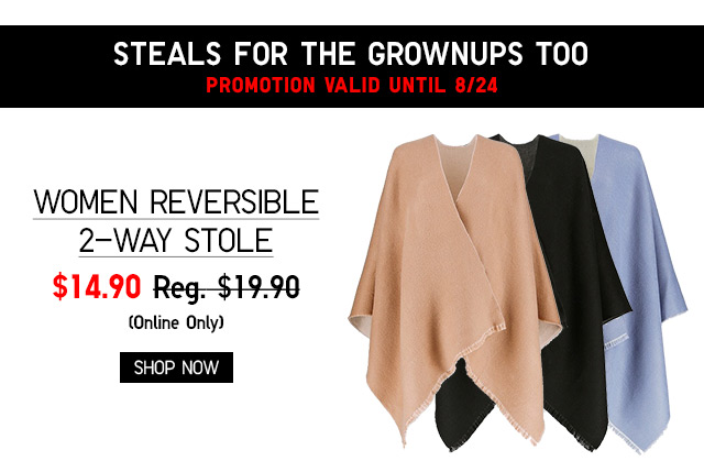 WOMEN REVERSIBLE 2-WAY STOLE $14.90 - Shop Women