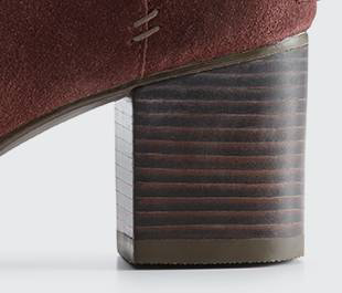 A close up of stacked heel.