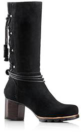 Profile of a black suede mid-cut boot.