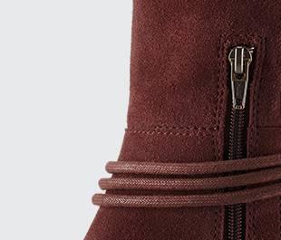 A close up of zipper closure.