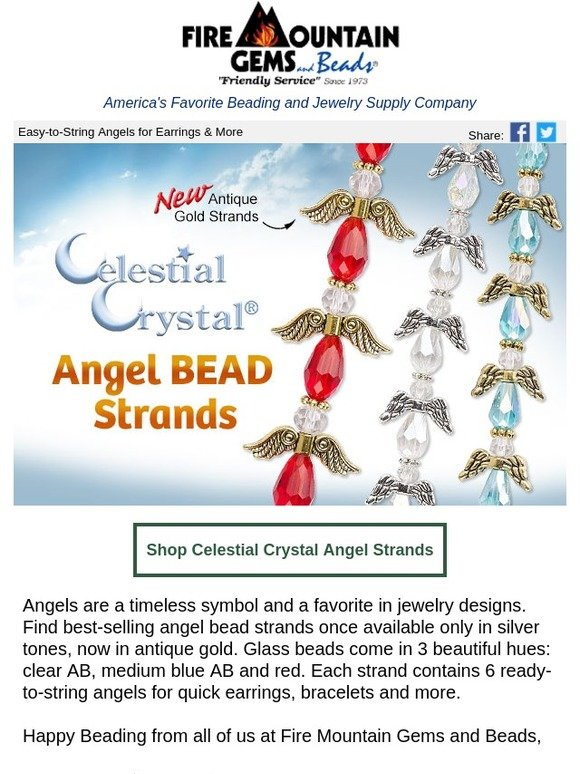 8551fae6a Fire Mountain Gems: Angel BEAD Strands Now in Antique Gold   Milled