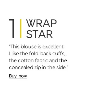 """This blouse is excellent! I like the fold-back cuffs, the cotton fabric and the concealed zip in the side."""