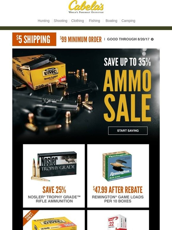 Cabela's: Save up to 35% on Ammo   Milled