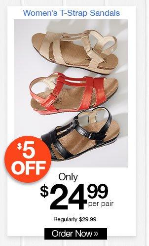 Women's T-Strap Sandals