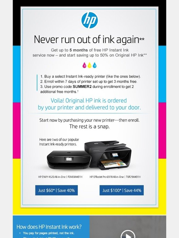 hp exclusive email offer 5 months of free hp instant ink milled. Black Bedroom Furniture Sets. Home Design Ideas