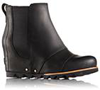 Profile leather wedge boot.