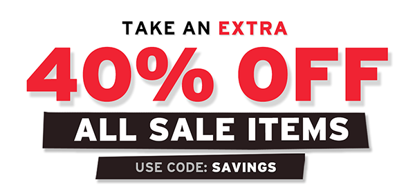 Get an additional 40% Off sale items. Use code SAVINGS thru 8/22.