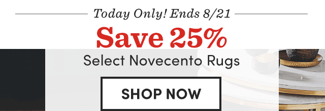 Today Only! Ends 8/21 Save 25% Select Novecento Rugs ›