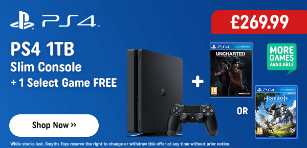 PS4 1TB Slim Console with One Select Game