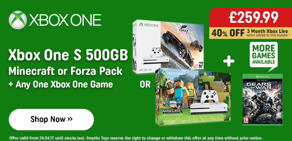 Xbox One S 500GB Console, Minecraft or Forza Bundle & Any One Xbox One Game