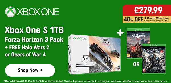 Xbox One S 1TB Forza Horizon 3 Bundle with Halo Wars 2 or Gears of War 4
