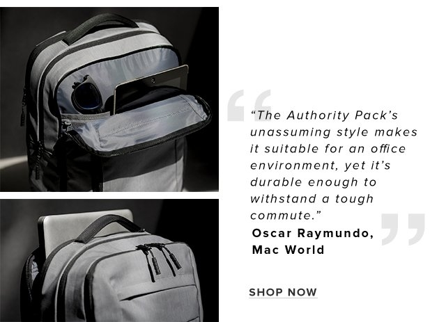 "01 – Authority Pack - Shop Now | ""The Authority Pack's unassuming style makes it suitable for an office environment, yet it's durable enough to withstand a tough commute.  - Oscar Raymundo, Mac World"