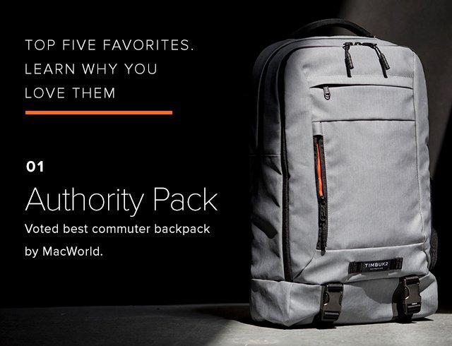 top five favorites. learn why you love them - 01 Authority Pack Voted best commuter backpack by MacWorld.