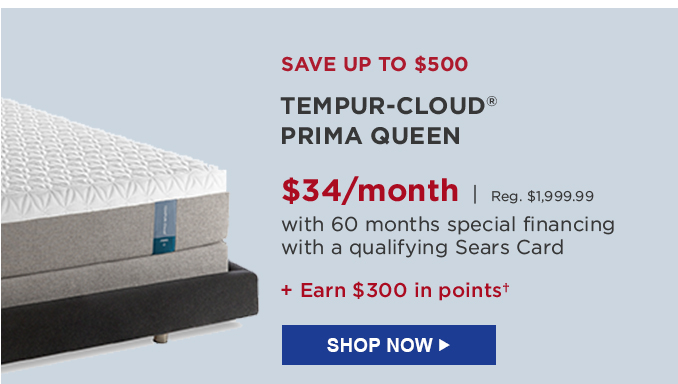 save up to 500 tempurcloud prima queen 34month