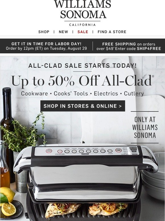 allclad electrics sale u0026 more starts today only at williams sonoma milled