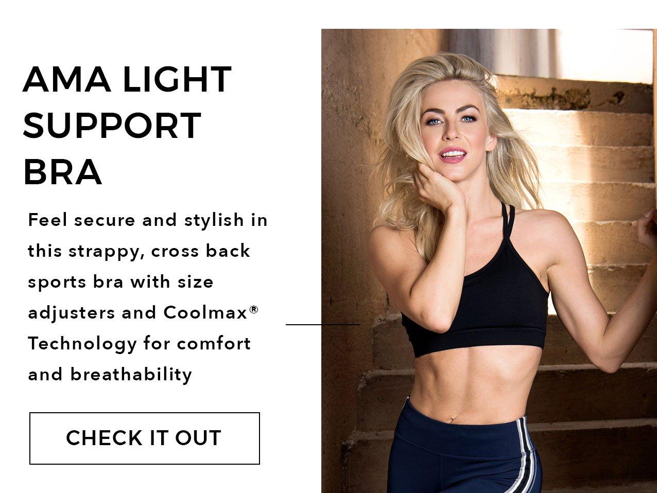 4c22fd5c1cdb9 Ama Light Support Bra - stylish strappy cross back sports bra with size  adjusters.
