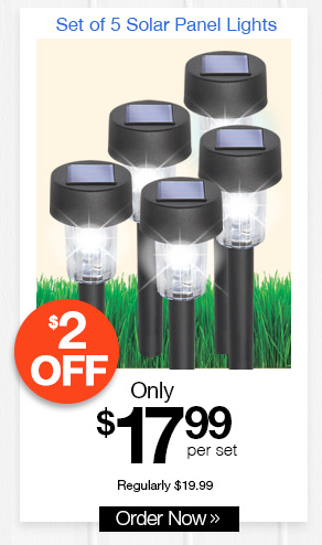 Set of 5 Solar Panel Lights