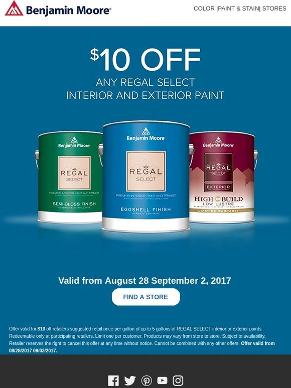 Benjamin Moore Paints 10 Off Regal Select Interior And Exterior Paint Milled