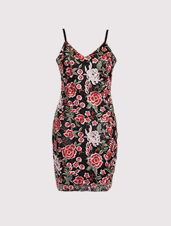 QUIZ ROSE EMBROIDERED MESH BODYCON DRESS