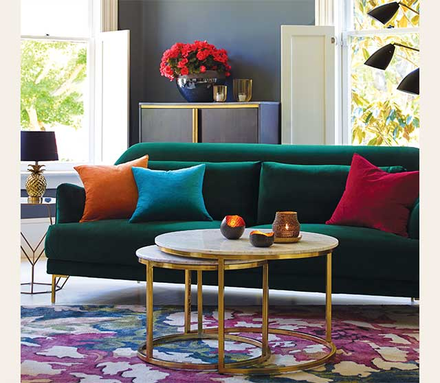 Sale $524.99 Green Samara Sofa. Also Available In Blue & Black. Online Only ›
