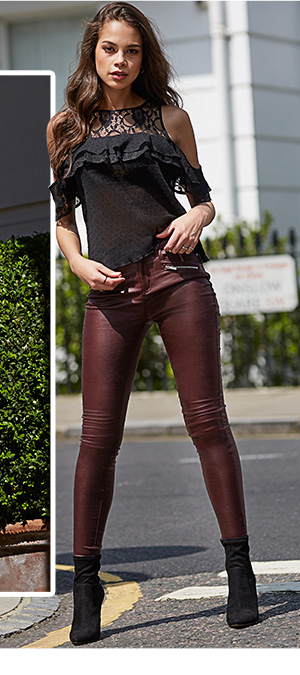LIPSY SUPER STRETCH ZIP COATED MID RISE SKINNY JEANS