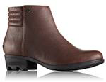 An ankle boot with zip detail and stacked heel.