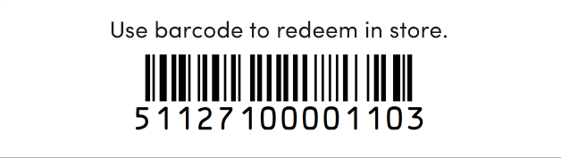 Use Barcode To Redeem In Store.
