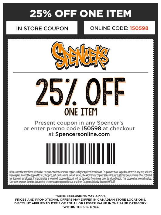spencers gifts coupons in store