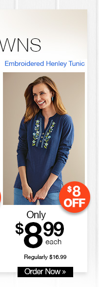 Embroidered Henley Tunic