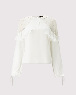 Lipsy pearl frill sleeve blouse